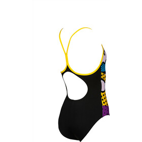 arena Cheerfully Light Drop One Piece Swimsuit Meisjes, black/yellow star